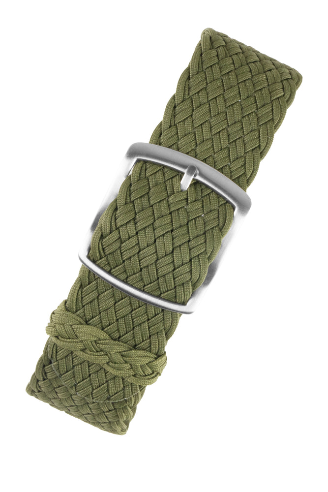 PERLON Double Yarn Braided One Piece Watch Strap & Buckle in ARMY GREEN