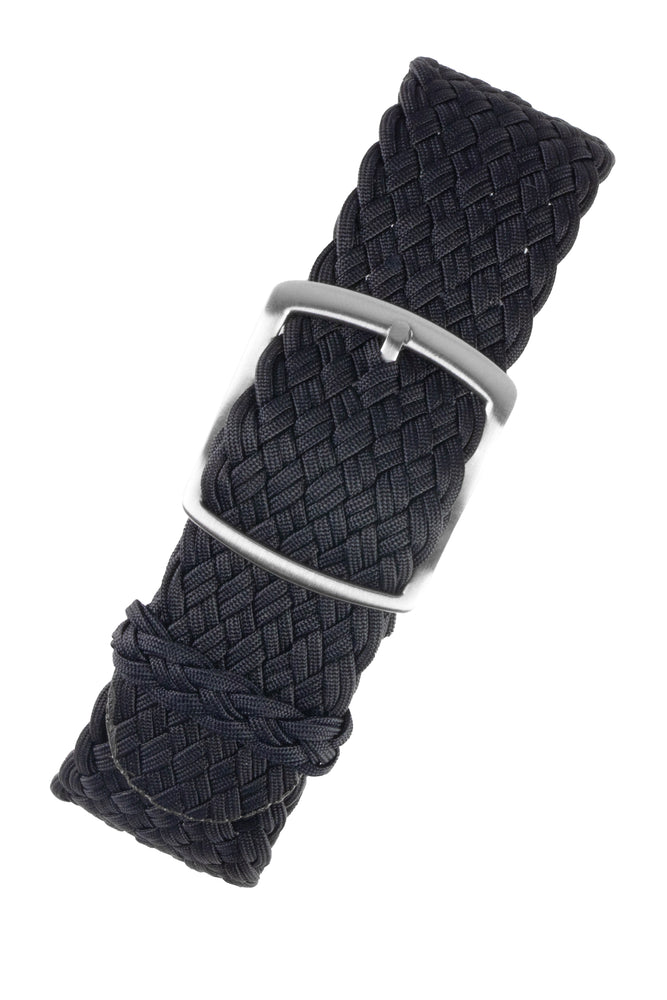 PERLON Double Yarn Braided One Piece Watch Strap & Buckle in DARK BLUE