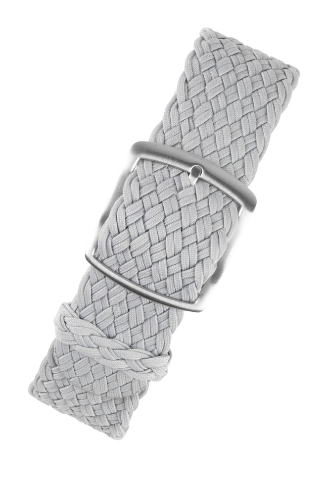 PERLON Double Yarn Braided One Piece Watch Strap & Buckle in LIGHT GREY