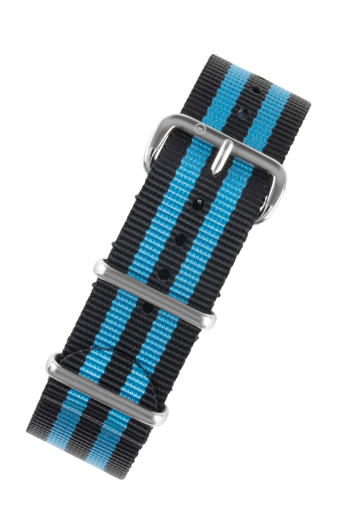 NATO Watch Strap in BLACK with BLUE Stripes