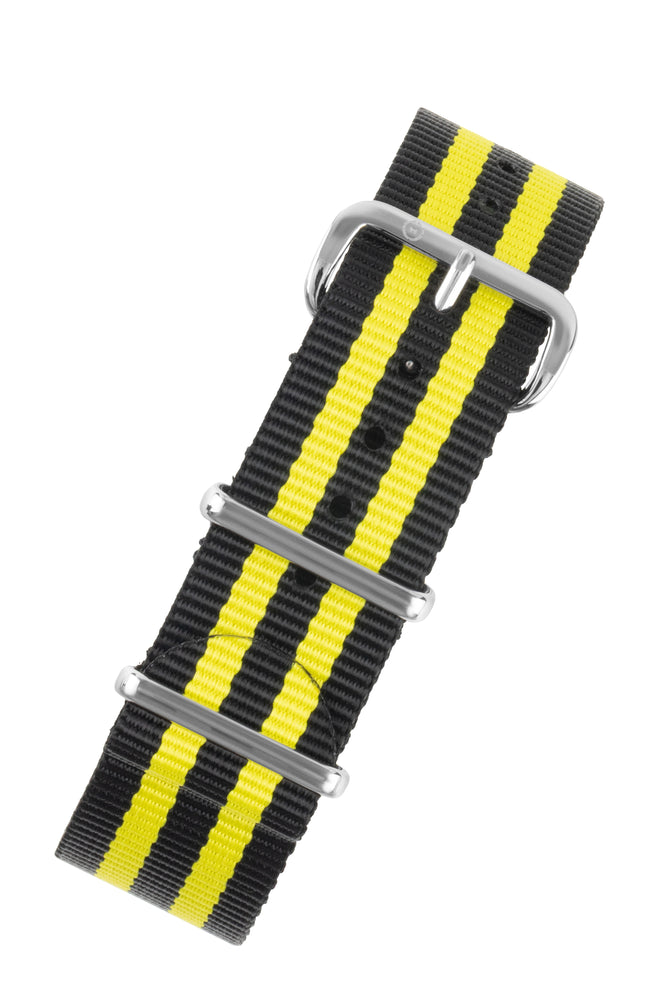 NATO Watch Strap in BLACK with YELLOW Stripes