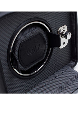 WOLF WINDSOR Single Watch Winder with Cover in BLACK