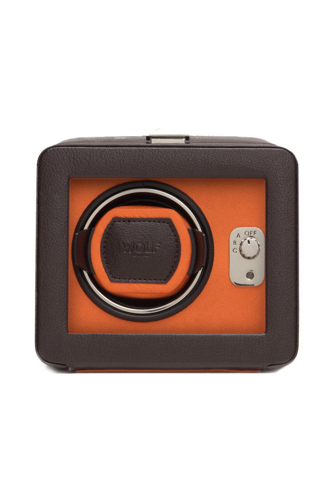 WOLF WINDSOR Single Watch Winder with Cover in ORANGE