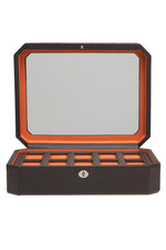 WOLF WINDSOR 10-Piece Watch Box with Cover in BROWN/ORANGE