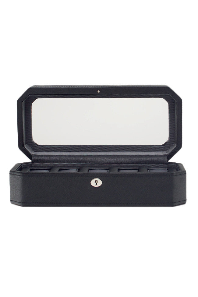 WOLF WINDSOR 5-Piece Watch Box with Cover in BLACK/GREY