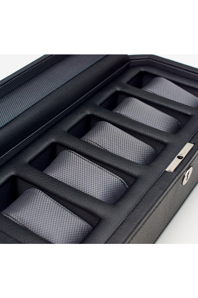 WOLF WINDSOR 5 Piece Watch Box with Cover in BLACK/GREY