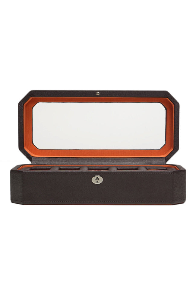 WOLF WINDSOR 5 Piece Watch Box with Cover in BROWN/ORANGE