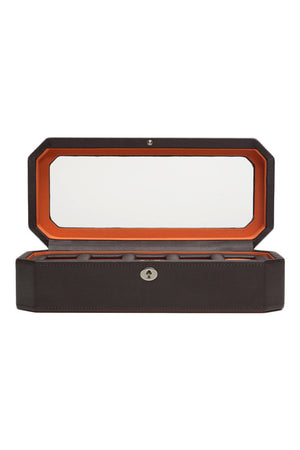 WOLF WINDSOR 5-Piece Watch Box with Cover in BROWN/ORANGE