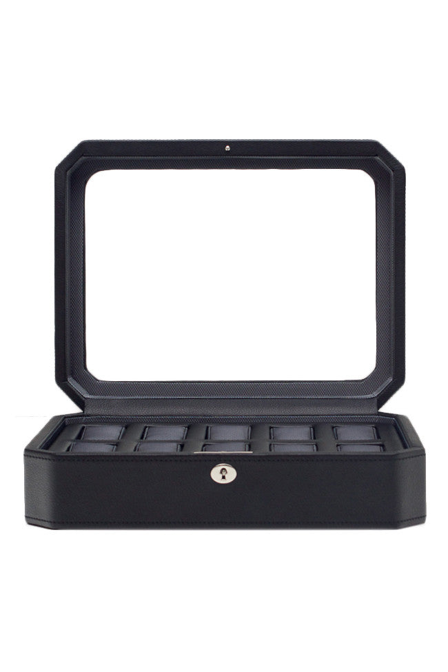 WOLF WINDSOR 10-Piece Watch Box with Cover in BLACK/GREY