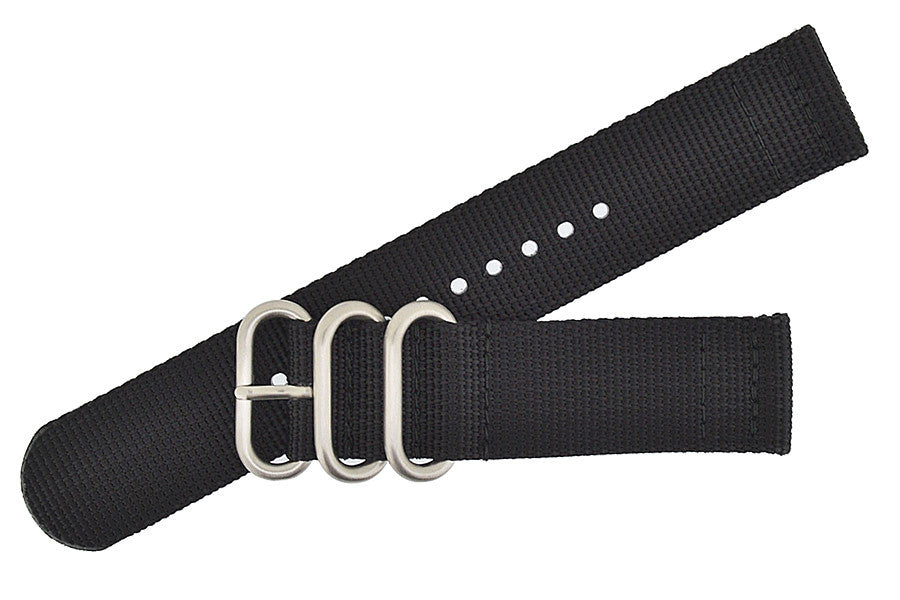ZULU Nylon 2 Piece Watch Strap in BLACK