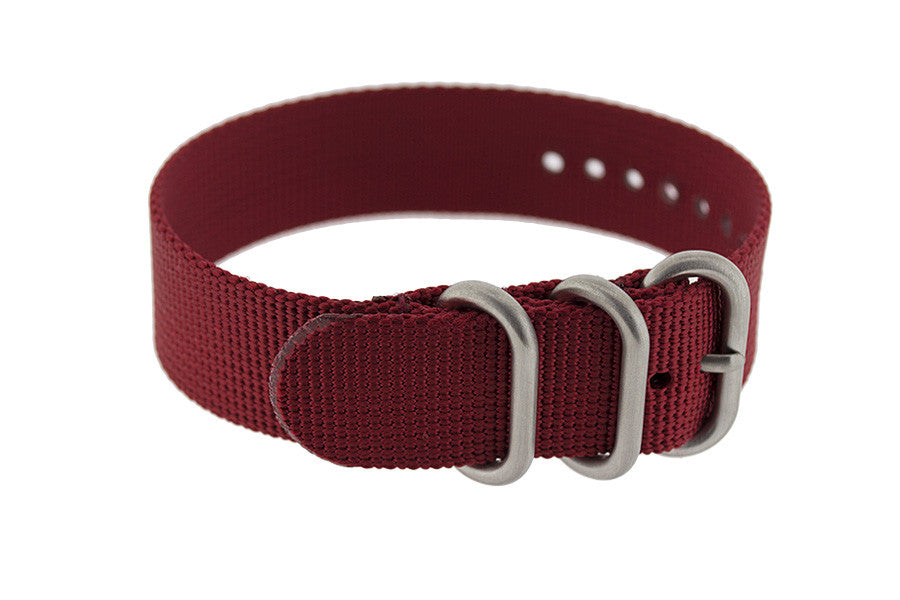 ZULU Nylon 3 Steel Ring Watch Strap in BURGUNDY