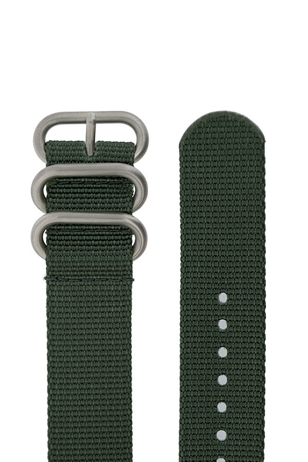 ZULU Nylon 5 Steel Ring Watch Strap in DARK GREEN