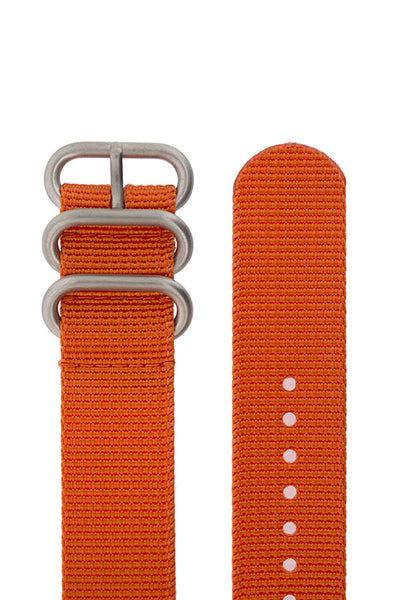 ZULU Nylon 5 Steel Ring Watch Strap in ORANGE