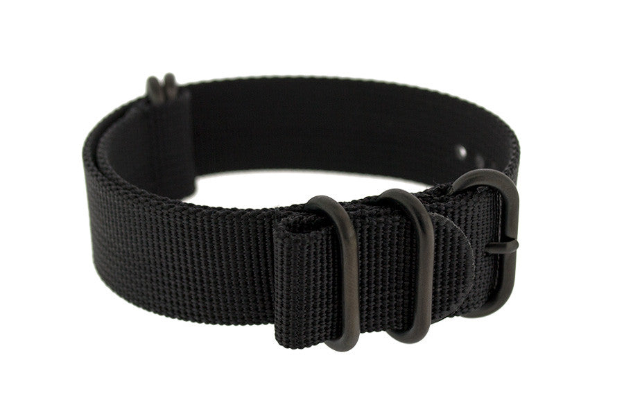 ZULU Nylon 5 PVD Ring Watch Strap in BLACK