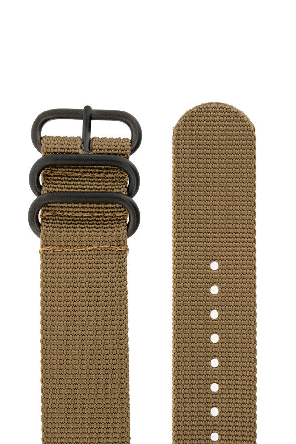 ZULU Nylon 5 PVD Ring Watch Strap in SAND BROWN