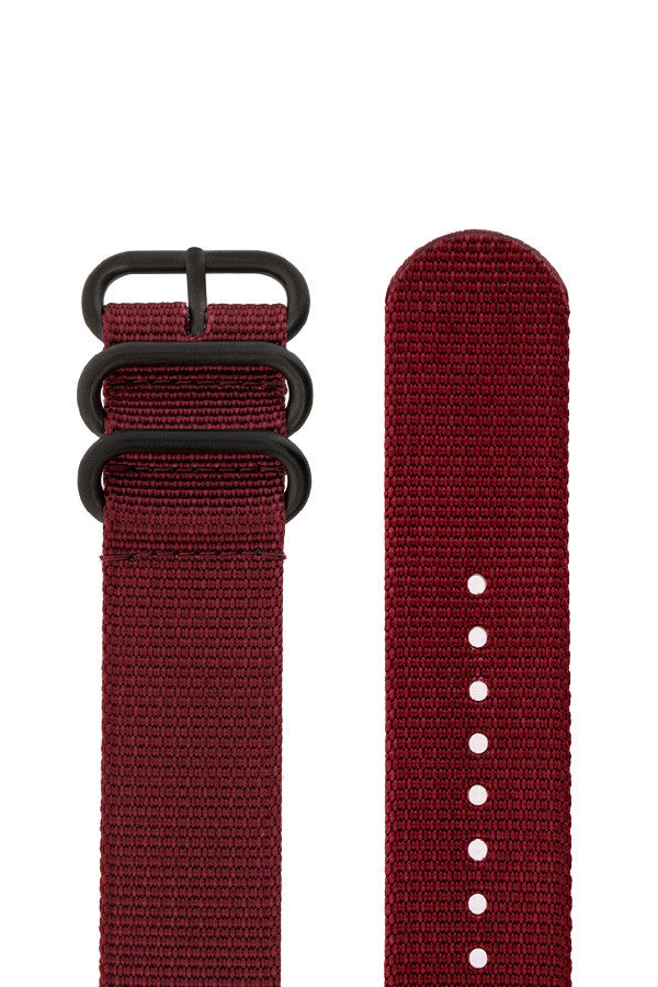 ZULU Nylon 5 PVD Ring Watch Strap in BURGUNDY