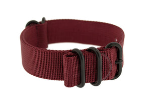 Load image into Gallery viewer, ZULU Nylon 5 PVD Ring Watch Strap in BURGUNDY