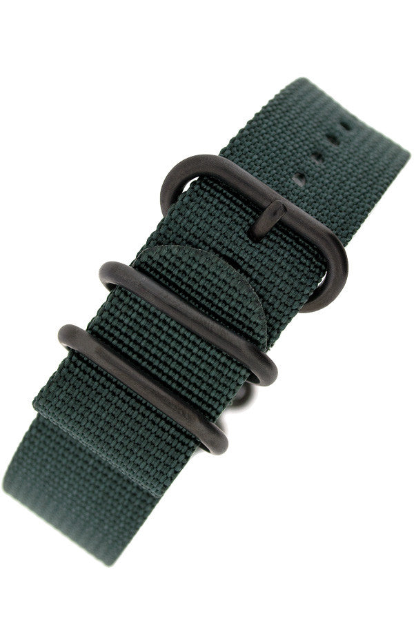 ZULU Nylon 5 PVD Ring Watch Strap in DARK GREEN