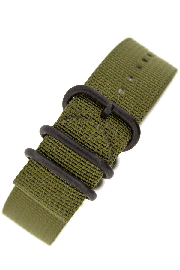 ZULU Nylon 5 PVD Ring Watch Strap in OLIVE GREEN