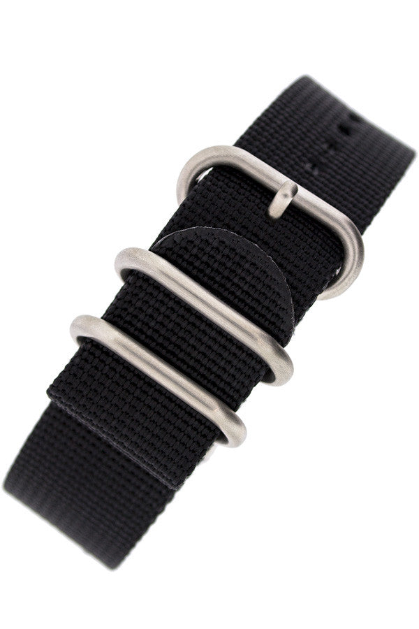 ZULU Nylon 5 Steel Ring Watch Strap in BLACK