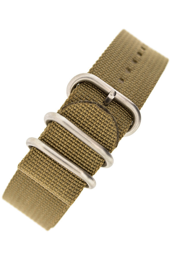 ZULU Nylon 5 Steel Ring Watch Strap in SAND BROWN