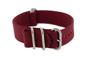 ZULU Nylon 5 Steel Ring Watch Strap in BURGUNDY