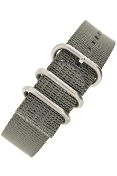 ZULU Nylon 5 Steel Ring Watch Strap in GREY
