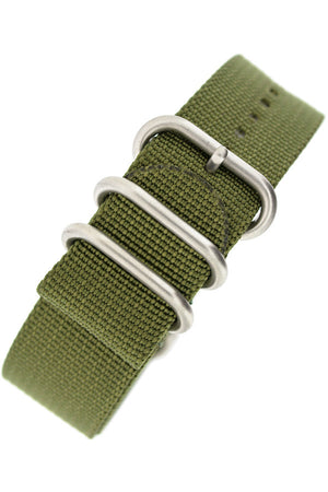Load image into Gallery viewer, ZULU Nylon 5 Steel Ring Watch Strap in OLIVE GREEN