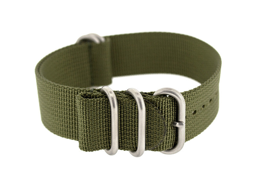 ZULU Nylon 5 Steel Ring Watch Strap in OLIVE GREEN