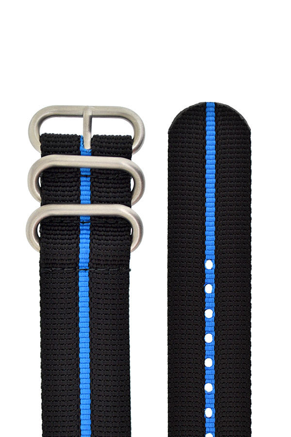 ZULU Nylon 3 Steel Ring Watch Strap with BLUE Stripe