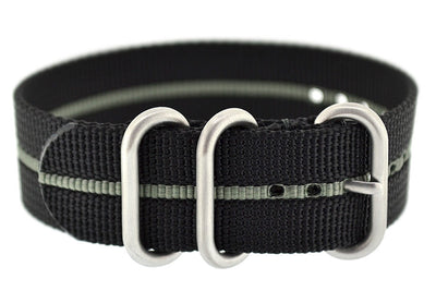 ZULU Nylon 3 Steel Ring Watch Strap with GREY Stripe