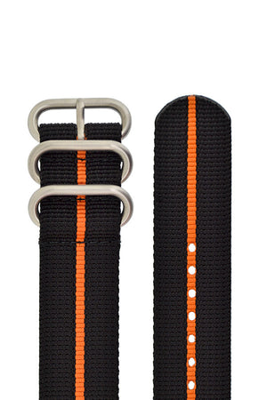 ZULU Nylon 3 Steel Ring Watch Strap with ORANGE Stripe