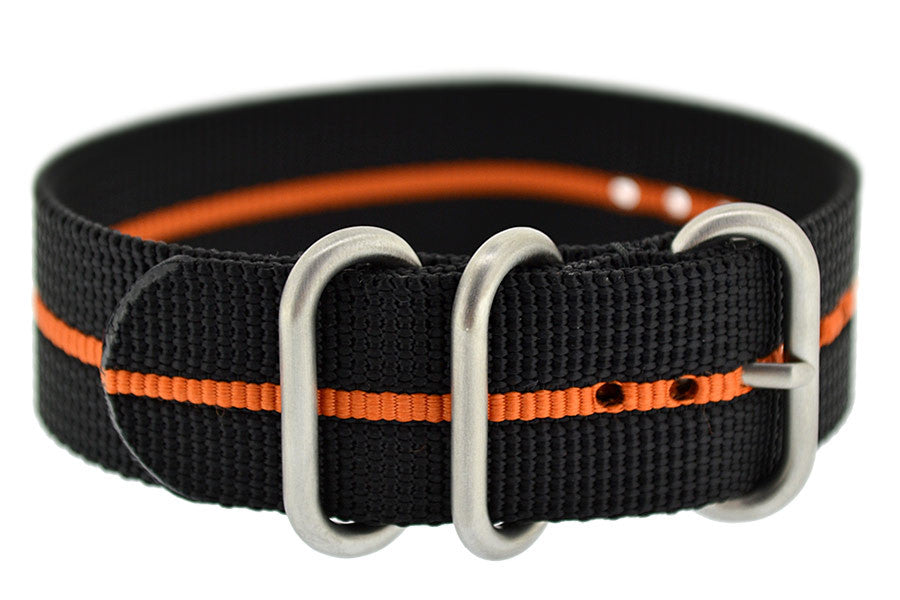 Load image into Gallery viewer, ZULU Nylon 3 Steel Ring Watch Strap with ORANGE Stripe