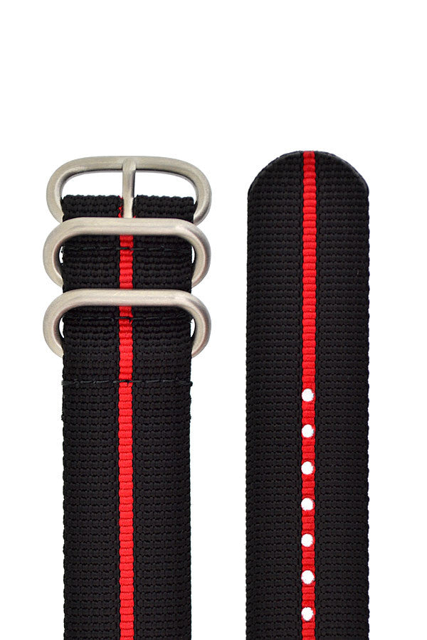ZULU Nylon 3 Steel Ring Watch Strap with RED Stripe