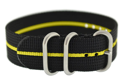 ZULU Nylon 3 Steel Ring Watch Strap with YELLOW Stripe
