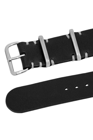 TANNER BATES Leather NATO Watch Strap with Polished Hardware in BLACK