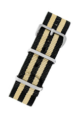 NATO Watch Strap in BLACK with BEIGE Stripes
