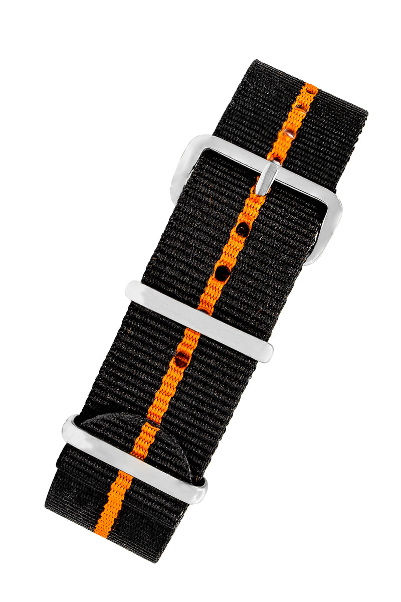 NATO Watch Straps in BLACK with ORANGE Stripe