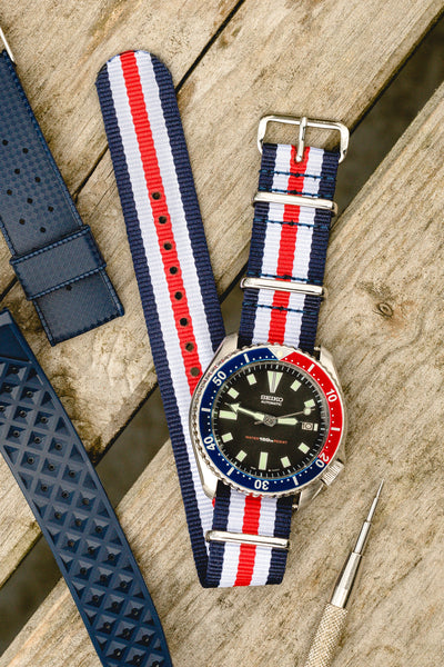 NATO Watch Strap in BLUE/WHITE/RED Thin Stripes