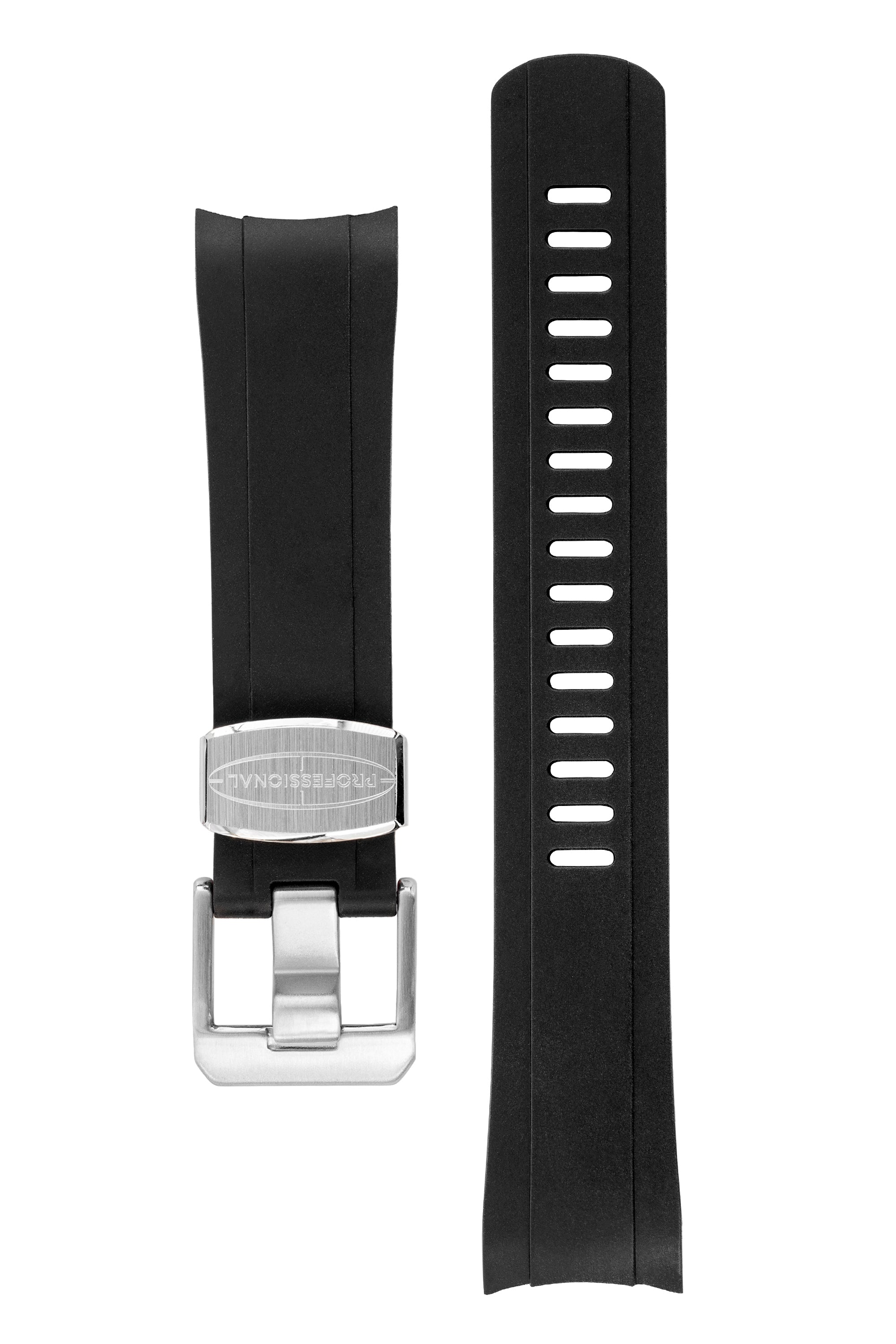 CRAFTER BLUE Rubber Watch Strap for Seiko SKX Series – BLACK & RED with Rubber & Steel Keepers
