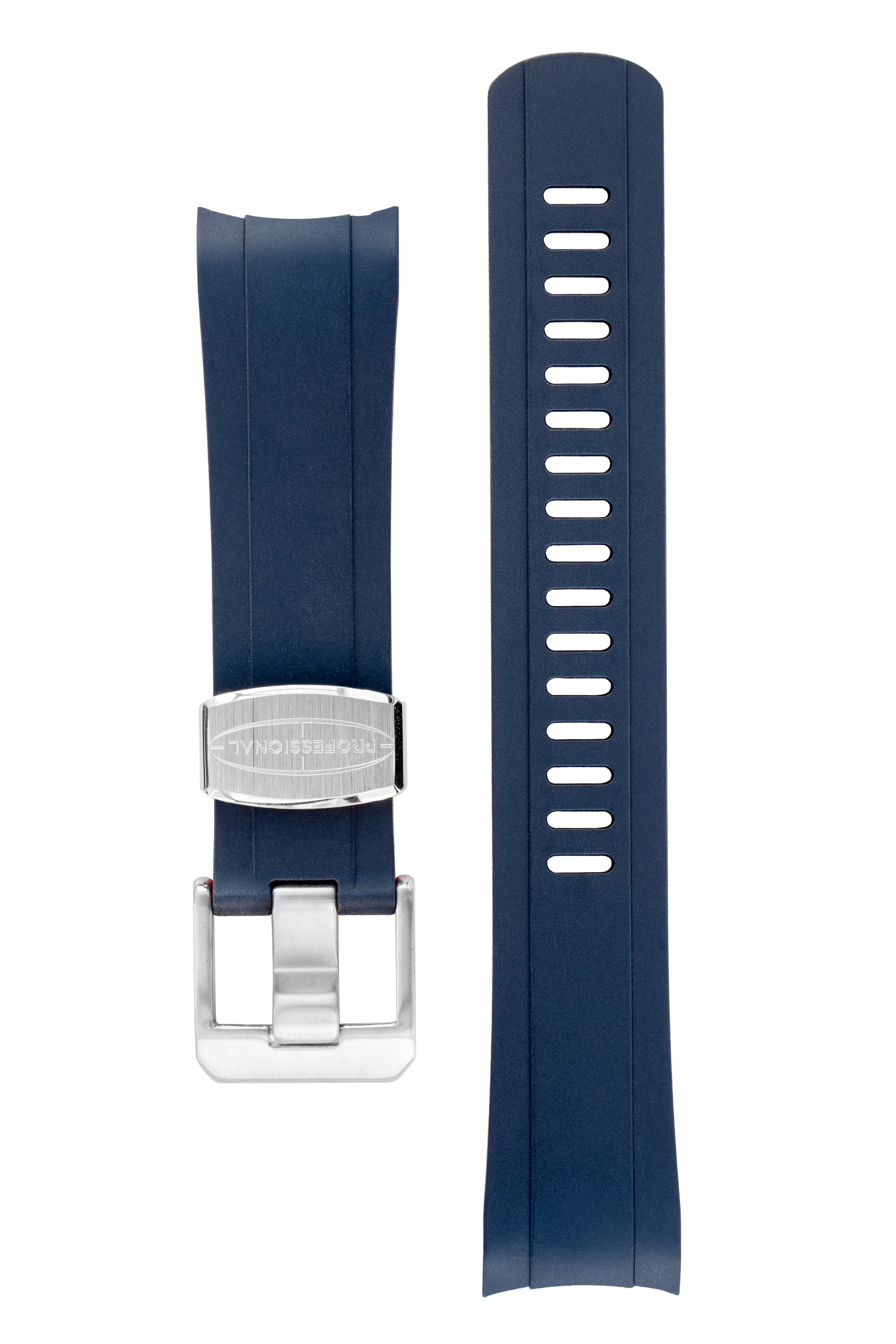 CRAFTER BLUE Rubber Watch Strap for Seiko SKX Series – NAVY BLUE & RED with Rubber & Steel Keepers