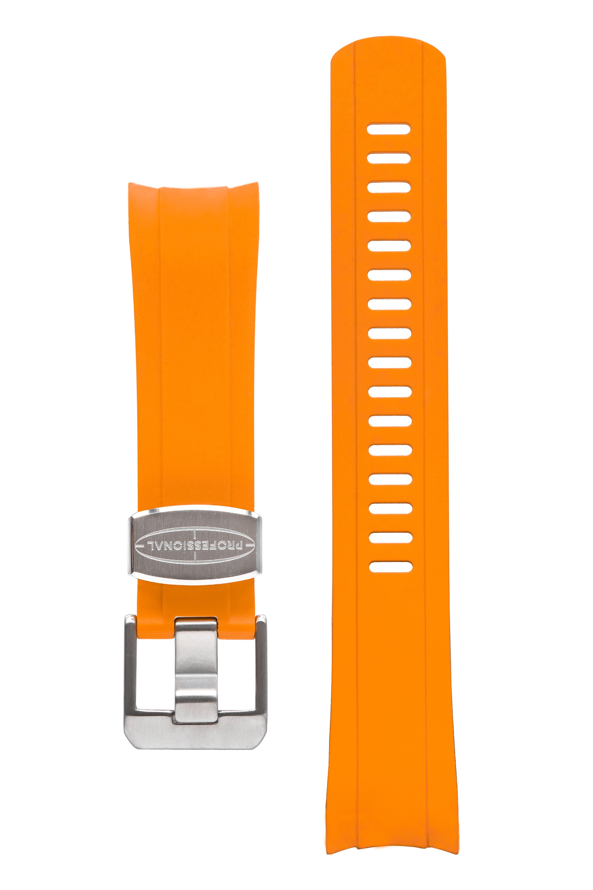 CRAFTER BLUE Rubber Watch Strap for Seiko SKX Series – ORANGE with Rubber & Steel Keepers