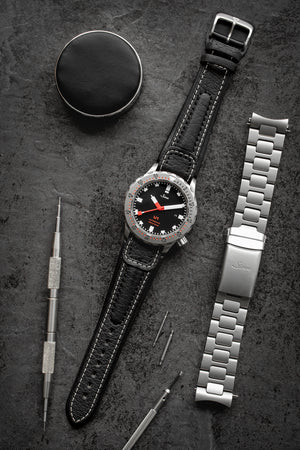 Di-Modell Chronissimo Waterproof Leather Watch Strap in Black with White Stitch (Promo Photo)