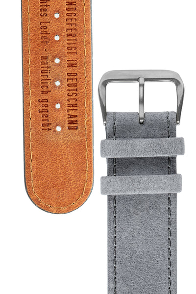 Di-Modell Natural Hypoallergenic Leather Watch Strap in Grey (Tapers & Buckle)