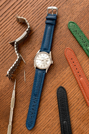 Di-Modell Polo Sherap Waterproof Padded Leather Watch Strap in Blue (Promo Photo)