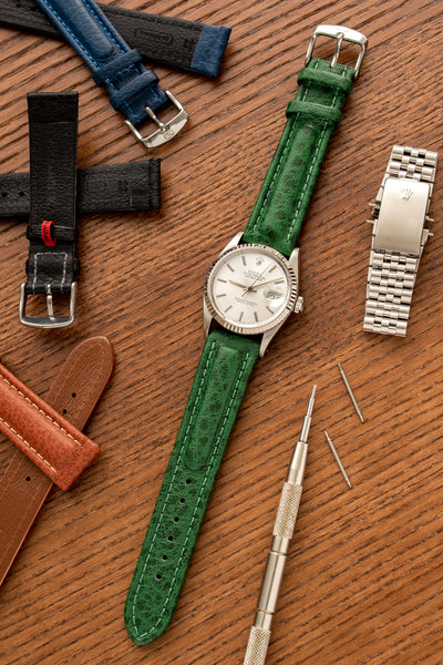 Di-Modell POLO SHERPA Waterproof Padded Leather Watch Strap in GREEN