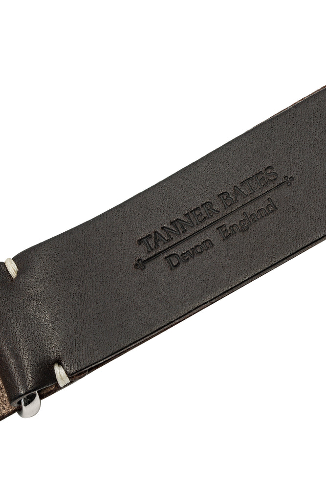 TANNER BATES Leather NATO Watch Strap with Polished Hardware in ESPRESSO