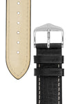 Hirsch Boston Buffalo Calfskin Leather Watch Strap in Black with White Contrast Stitch (Tapers & Buckle)