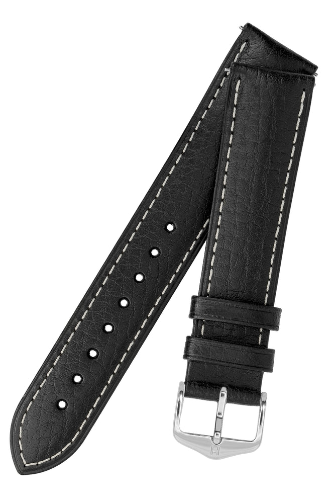 Hirsch Boston Buffalo Calfskin Leather Watch Strap in Black with White Contrast Stitch