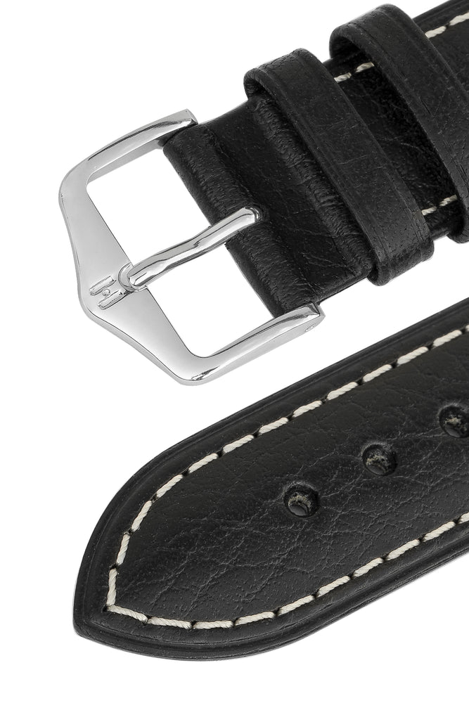 Hirsch Boston Buffalo Calfskin Leather Watch Strap in Black with White Contrast Stitch (Keepers)